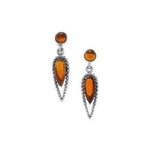 American Fire Opal Earrings in Sterling Silver 3.64cts