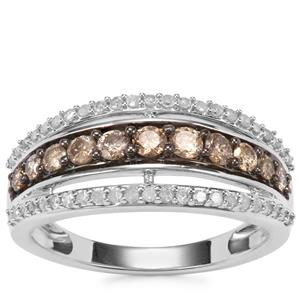 Champagne Diamond Ring with White Diamond in Sterling Silver 0.76ct