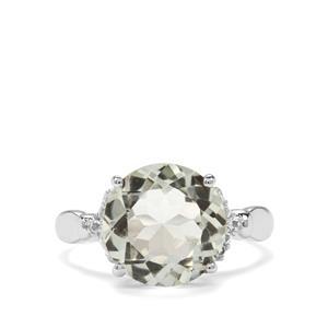 Prasiolite & White Topaz Sterling Silver Ring ATGW 4.50cts