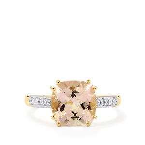 Mutala Morganite & White Zircon 10K Gold Ring ATGW 2.84cts