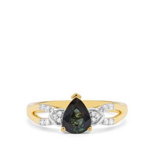 Nigerian Blue Sapphire & Diamond 18K Gold Tomas Rae Ring MTGW 1.03cts