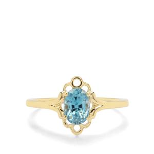 1.28ct Ratanakiri Blue Zircon 9K Gold Ring