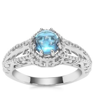 Swiss Blue Topaz Ring in Sterling Silver 1.23cts