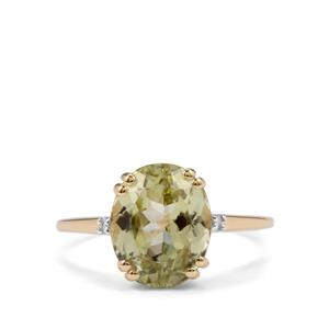 Sillimanite Ring with Diamond in 10k Gold 3.57cts