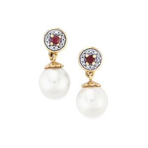 South Sea Cultured Pearl, Malagasy Ruby Earrings with White Zircon in 9K Gold (9mm)