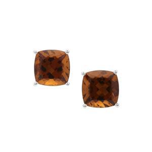 Cognac Quartz Earrings in Sterling Silver 4.24cts