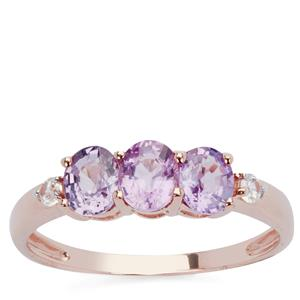 Natural Purple Sapphire Ring with White Zircon in 9K Rose Gold 1.31cts
