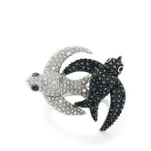 Black Spinel & White Zircon Sterling Silver Swift Bird Ring ATGW 0.71cts