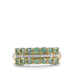Alexandrite & White Zircon 9K Gold Ring ATGW 1.13cts