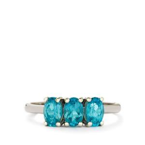 1.57ct Madagascan Blue Apatite 9K White Gold Ring