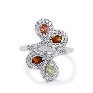 Rainbow Tourmaline & White Topaz Sterling Silver Ring ATGW 1.15cts