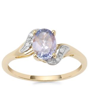 Bi Colour Tanzanite Ring with Diamond in 10K Gold 1.13cts