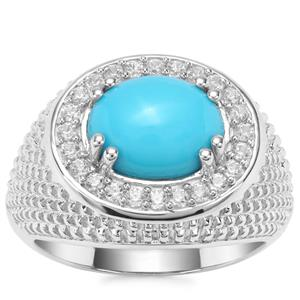 Sleeping Beauty Turquoise Ring with White Zircon in Sterling Silver 2.81cts