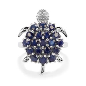 Orissa Sapphire & White Zircon Sterling Silver Tortoise Ring ATGW 3.17cts