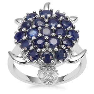 Orissa Sapphire Tortoise Ring with White Zircon in Sterling Silver 3.17cts