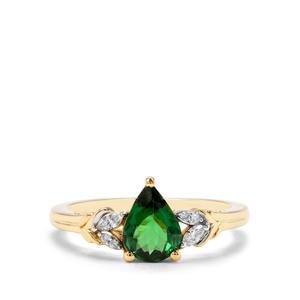 Tsavorite Garnet & Diamond 18K Gold Tomas Rae Ring MTGW 1.09cts
