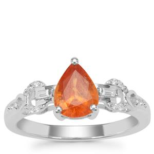 Mandarin Garnet Ring with White Zircon in Sterling Silver 1.66cts