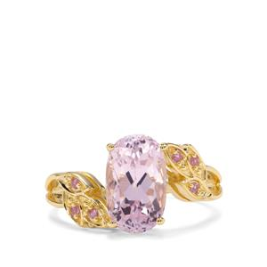 Kolum Kunzite & Pink Sapphire 9K Gold Ring ATGW 3.51cts