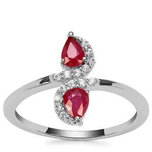 Montepuez Ruby Ring with White Zircon in Sterling Silver with 18K Gold Prong 0.66ct
