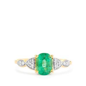 Zambian Emerald & Diamond 18K Gold Tomas Rae Ring MTGW 1.24cts
