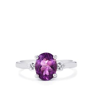 Moroccan Amethyst & White Topaz Sterling Silver Ring ATGW 1.79cts