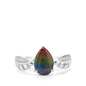AA Ammolite & White Zircon Sterling Silver Ring (7x10mm)