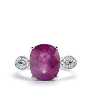 Ilakaka Hot Pink Sapphire & White Topaz Sterling Silver Ring ATGW 7.74cts (F)