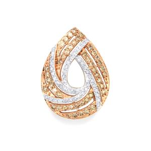 1ct Champagne & White Diamond 10K Gold Pendant