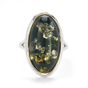 Baltic Green Amber Ring in Sterling Silver (22x12mm)