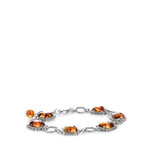 Baltic Cognac Amber Sterling Silver Bracelet (9.5x9.5mm)
