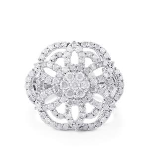 1.70ct Diamond Sterling Silver Ring
