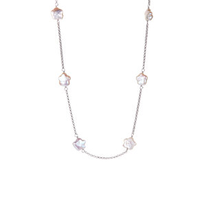 Baroque Freshwater Cultured Pearl Sterling Silver Necklace