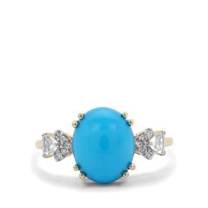 Sleeping Beauty Turquoise & White Zircon 9K Gold Ring ATGW 3.98cts