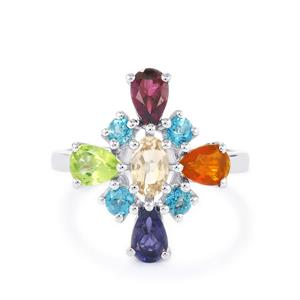 2.41ct Kaleidoscope Gemstones Sterling Silver Ring