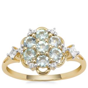 Aquaiba™ Beryl Ring with White Zircon in 9K Gold 0.82ct
