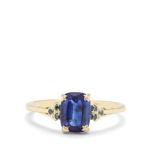 Nilamani & Blue Diamond 9K Gold Ring ATGW 1.86cts