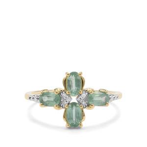 Odisha Kyanite & Diamond 9K Gold Ring ATGW 1.28cts