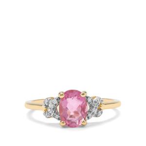 Natural Pink Fluorite & White Zircon 9K Gold Ring ATGW 1.60cts