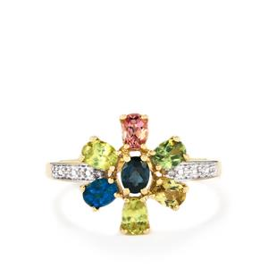 Harlequin Gems Ring with Diamond in 10k Gold 1.30cts