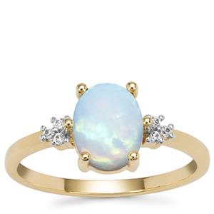 Kelayi Opal Ring with White Zircon in 9K Gold 1.12cts