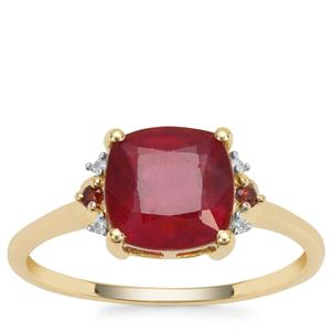 Malagasy Ruby, Rajasthan Garnet Ring with White Zircon in 9K Gold 3.07cts
