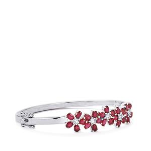 Malagasy Ruby & White Topaz Sterling Silver Oval Bangle ATGW 7.47cts (F)