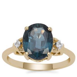 Orissa Kyanite Ring with White Zircon in 9K Gold 3.24cts
