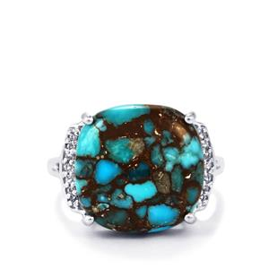 Egyptian Turquoise & White Topaz Sterling Silver Ring ATGW 11.08cts