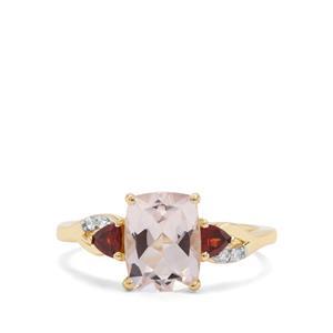 Alto Ligonha Morganite, Red Garnet & White Zircon 9K Gold Ring ATGW 2.16cts