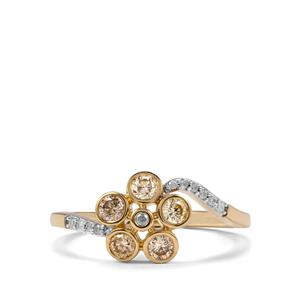 Natural Coloured Diamond Ring with White Diamond in 9K Gold 0.52ct