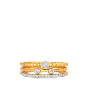 Set of 3 Diamond Rings in Gold Plated Sterling Silver 0.14ct