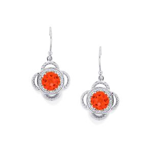 Padparadscha Quartz Earrings with White Topaz in Sterling Silver 4.13cts
