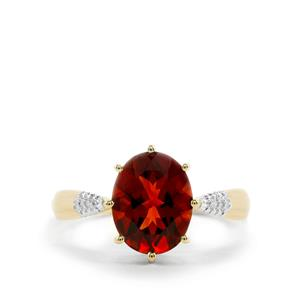 Madeira Citrine Ring with Diamond in 10k Gold 2.07cts