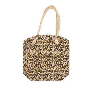 Natural Laminated Jute Leopard Print Handbag